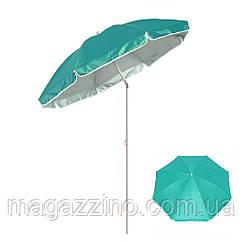 Зонт пляжний з нахилом і срібним напиленням, діаметр 1,7 м, Бірюзовий