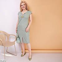 Стримане однотонне приталене універсальне плаття до коліна Розмір: 48-50, 52-54, 56-58 арт. 094