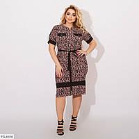 Софтовое приталене легке плаття з дрібним густим принтом під пояс Розмір: 48-50, 52-54, 56-58 арт. 0184