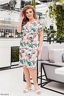 Ніжне полуприталенное повсякденне сатинове плаття з квітковим принтом р: 50, 52, 54, 56, 58 арт. 68