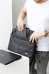 Сумка для ноутбука выполнена из текстиля, унисекс, цвет: черный, синий, серый / 30 * 41 * 5 /  AM-V004-11