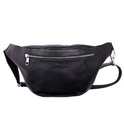 """Мужская поясная сумка из мягкой телячьей кожи от ТМ""""ArtMar"""" / 16-33x17x1 см / цвет черный"""