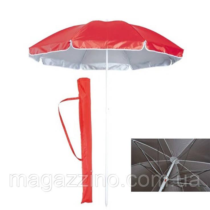 Зонт пляжний зі спицею ромашка і срібним напиленням, діаметр 1,7 м., Червоний