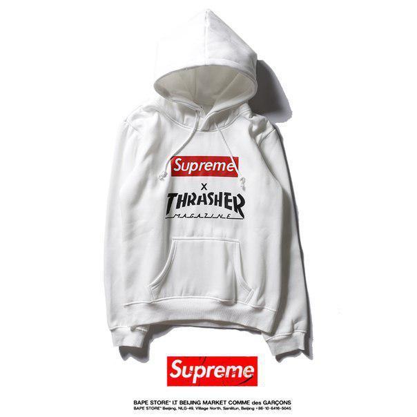Худи Supreme & Thrasher белое с логотипом, унисекс (мужское, женское, детское) утепленное