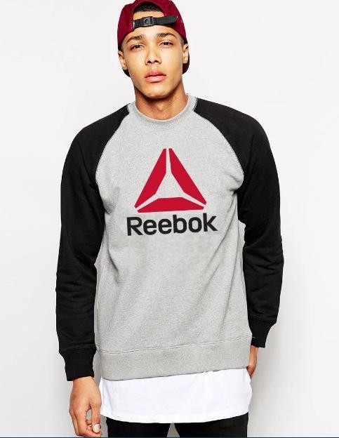 """Свитшот серо- чёрный REEBOK   ( Рибок ) ( цветное лого ) """""""" В стиле Reebok """""""" утепленный"""