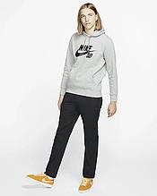 """Худі Nike ( Найк )   Чоловіча толстовка   Кенгурушка сіра, чорний принт """""""" В стилі Nike """""""""""