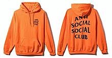 Худи Anti social social club (A.S.S.C) оранжевое с логотипом, унисекс Толстовка утепленная