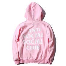Худи Anti social social club (A.S.S.C), розовое с логотипом , унисекс подростковое