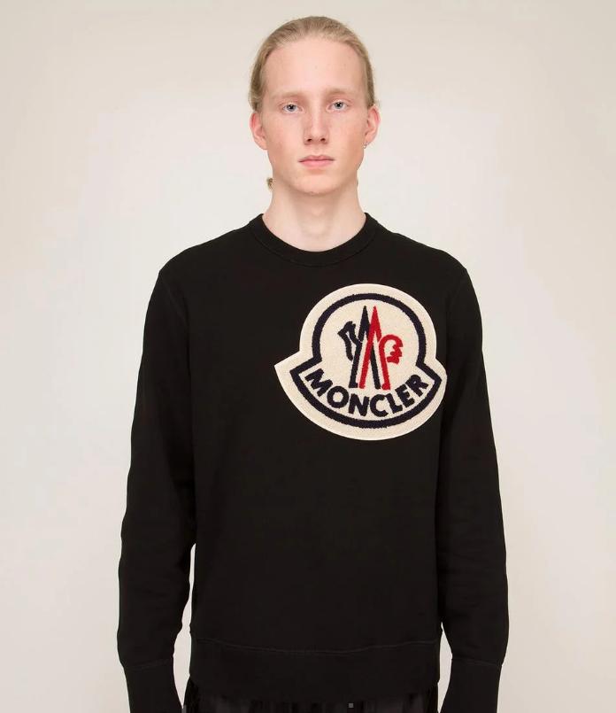 Свитшот черний Moncler logo | стильна кофта  унисекс
