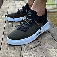 Мужские кроссовки кеды лакост весенние, обувь Lacoste хаки