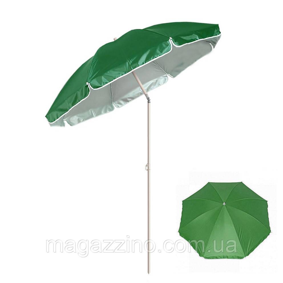 Зонт пляжний з нахилом і срібним напиленням, діаметр 2,2 м, Зелений