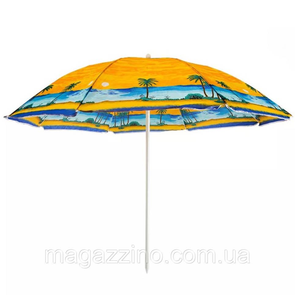 Зонт пляжний з срібним напиленням, пластикові спиці, діаметр 2,2 м., Пальма