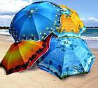 Зонт пляжний з срібним напиленням, пластикові спиці, діаметр 2,2 м., Пальма, фото 2