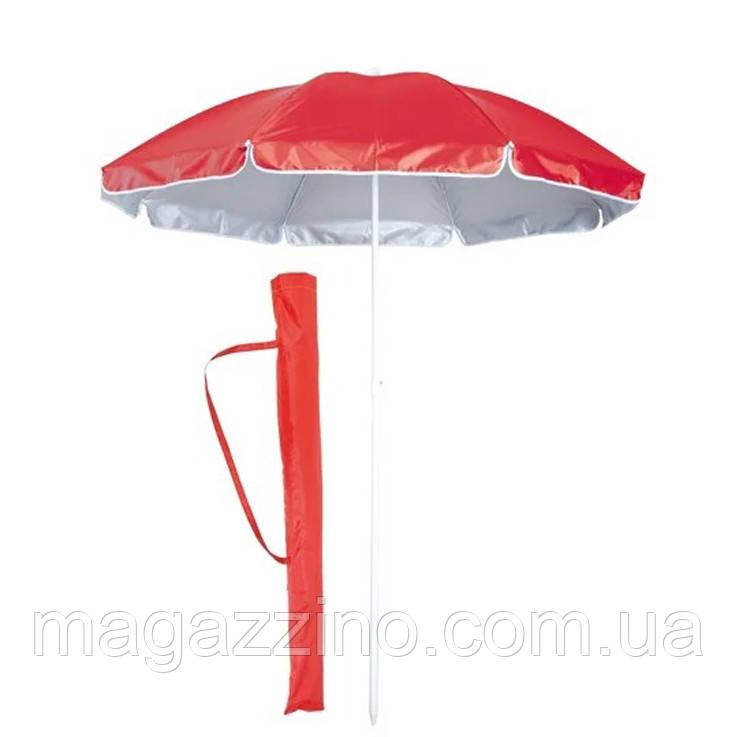 Зонт пляжний з срібним напиленням, пластикові спиці, діаметр 2,2 м, Червоний