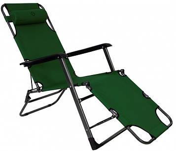 Шезлонг лежак Bonro 180 см темно-зелений (70000013)