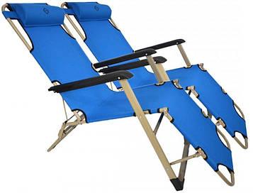 Комплект шезлонгів Bonro 180 см блакитний (2 шт) (70000211)