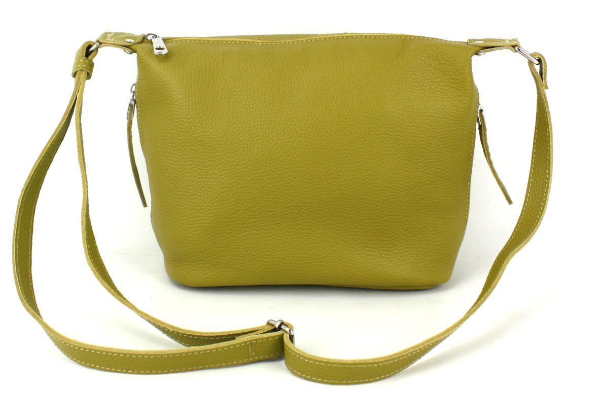Кожаная женская сумка через плечо Borsacomoda желтая