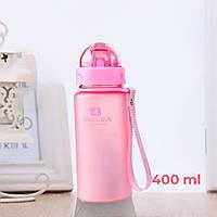 Пляшка для води CASNO 400 мл MX-5028 More Love Рожева з соломинкою, фото 1