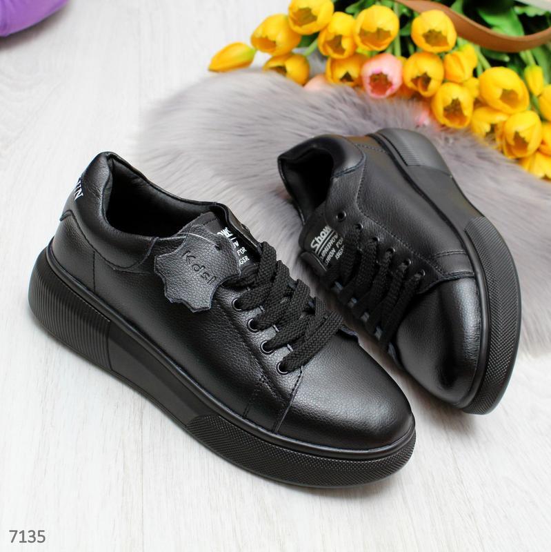 Удобные повседневные черные женские кроссовки из натуральной кожи