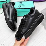 Удобные повседневные черные женские кроссовки из натуральной кожи, фото 2