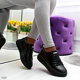 Удобные повседневные черные женские кроссовки из натуральной кожи, фото 4
