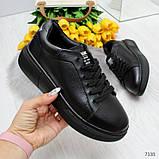 Удобные повседневные черные женские кроссовки из натуральной кожи, фото 8