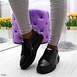 Удобные повседневные черные женские кроссовки из натуральной кожи, фото 10