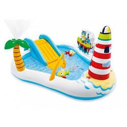 """57162 игровой центр Веселая рыбалка"""" с горкой, фонтаном, игрушками и мячами 218*188*99см"""