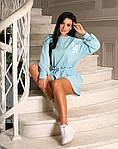 Женский костюм, турецкий кулир, р-р универсальный 42-46; 48-52 (голубой), фото 2