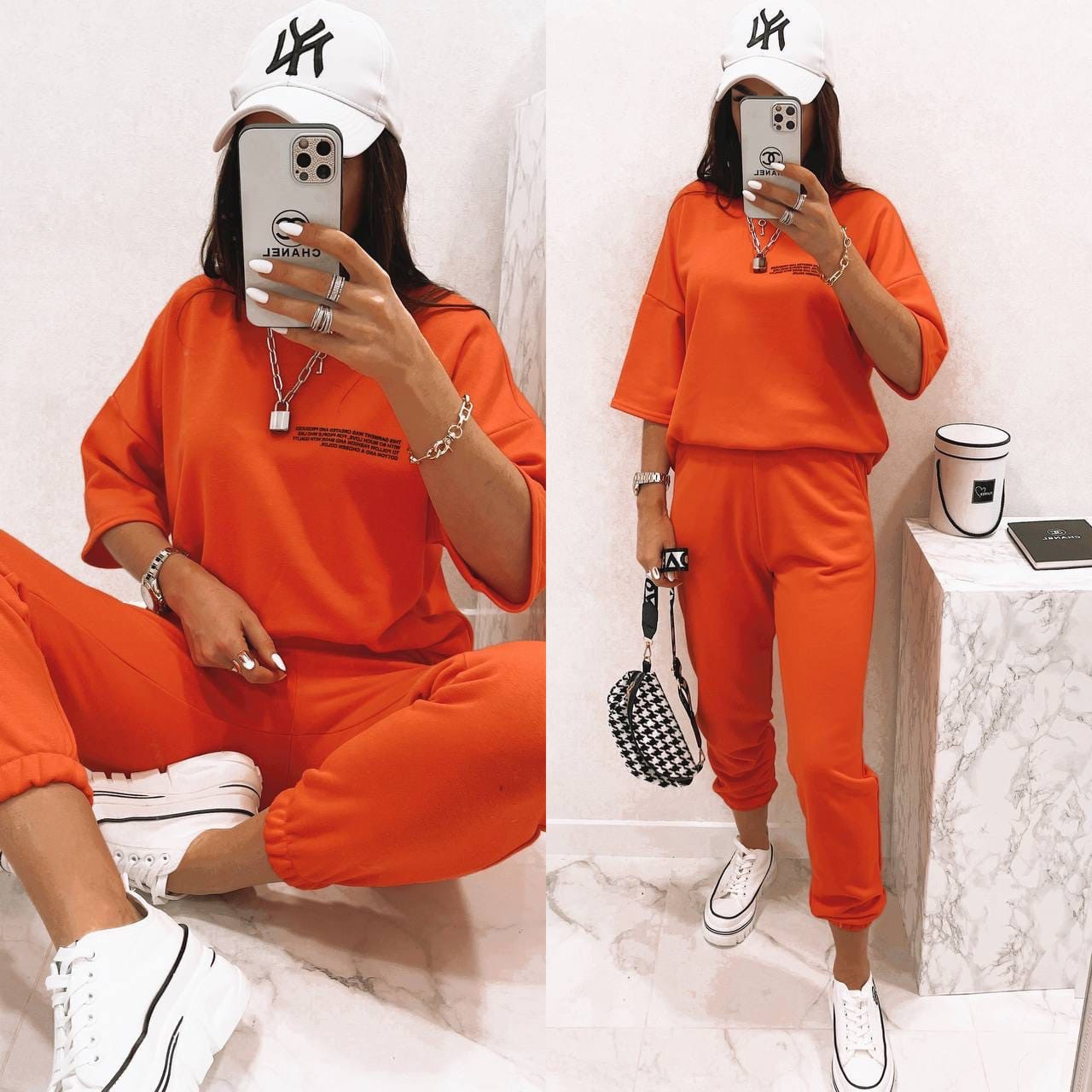 Женский спортивный костюм, турецкая петля - футер, р-р 42-44(S); 46-48(L); 50-52(XХ) (оранжевый)