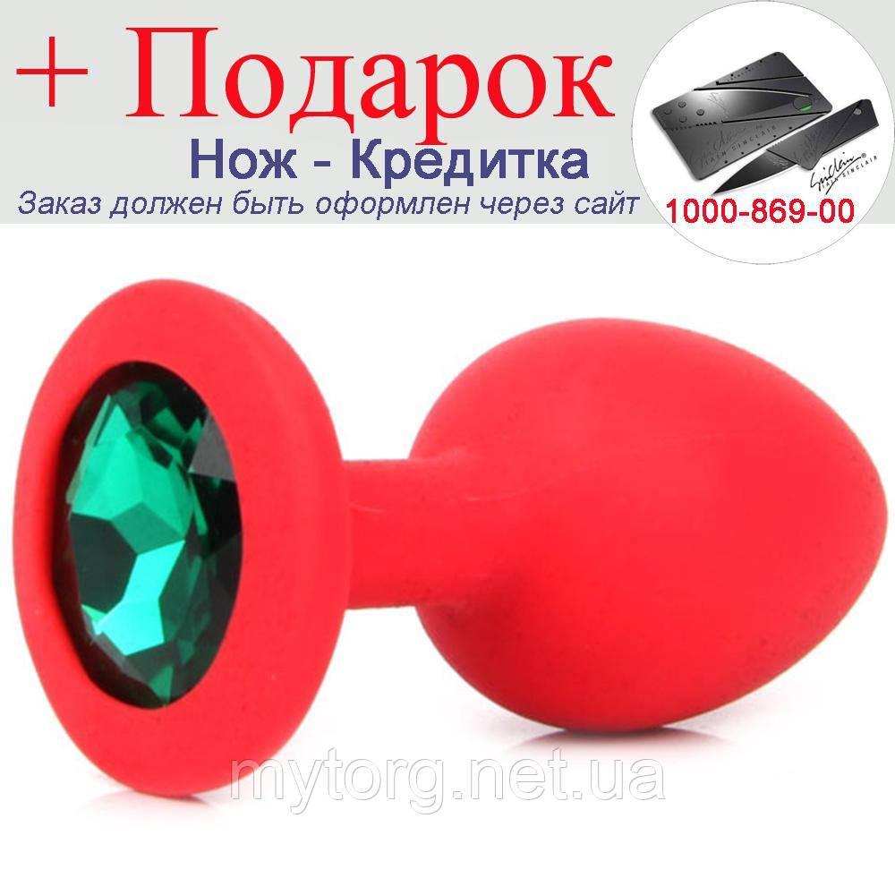 Красная силиконовая анальная пробка с кристаллом 3,5 см х 8 см Зеленый