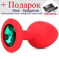 Красная силиконовая анальная пробка с кристаллом 3,5 см х 8 см Зеленый, фото 1