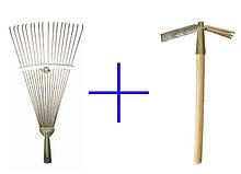 Основний набір садівника граблі віялові і сапка-тризуб АЛВАНІ