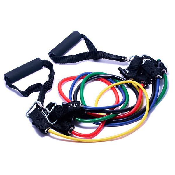 Эспандер трубчатый Forever (Набор из 5 штук) - Многофункциональный тренажер для фитнеса, рук, ног, ягодиц,