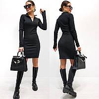 Стильне жіноче облягаюче трикотажне плаття з довгим рукавом, фото 1