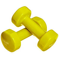 Гантелі 2 шт по 3 кг для фітнесу ZELART Beauty З вініловим покриттям Жовтий (TA-5225-3)