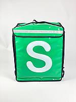 Рюкзак для курьера службы доставки салатовый с логотипом компании GL