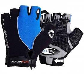 Велорукавички PowerPlay 5019 C Чорно-блакитні L SKL24-144350