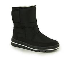 Жіночі зимові чоботи дутики Чорні короткі на замку та липучці