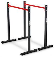 Брусья стационарные стальные с регулировкой высоты Hop-Sport Черно-красный