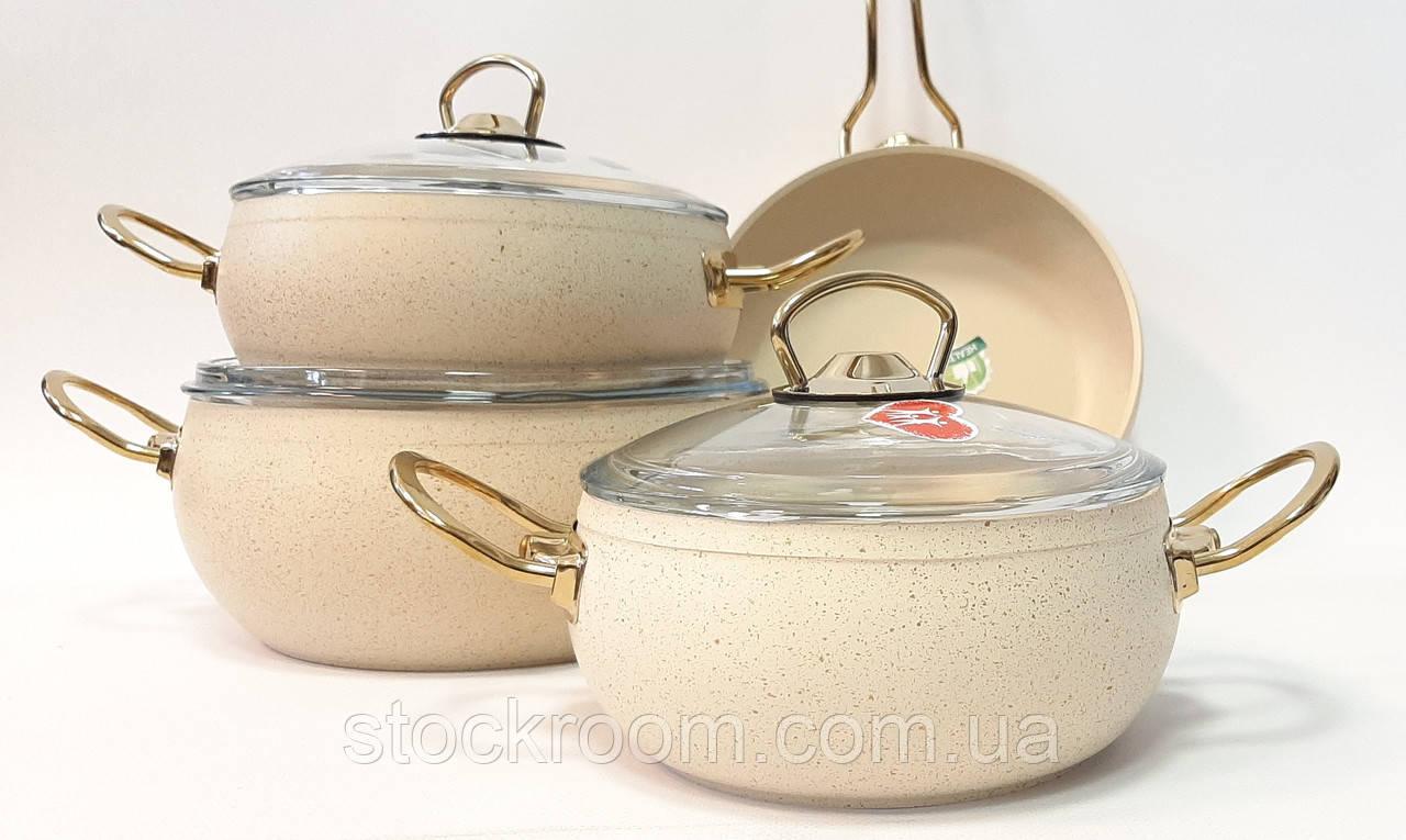 Набор посуды с многослойным антипригарным покрытием Casa Royal G-UKR 20200 cream 7 предметов