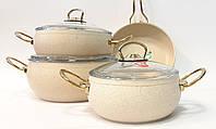 Набор посуды с многослойным антипригарным покрытием Casa Royal G-UKR 20200 cream 7 предметов, фото 1