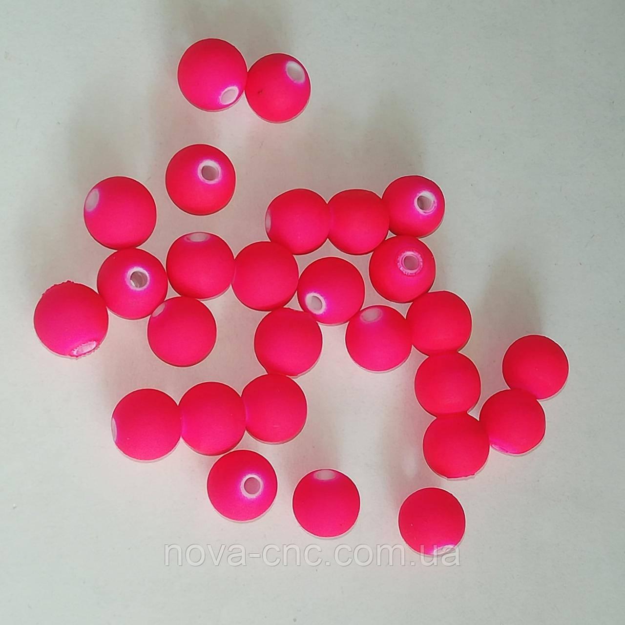"""Намистини """"Куля гладкий"""" пластик малиновий 8 мм 500 грам"""
