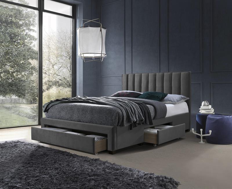 Ліжко GRACE 160 з ящиками сірий оксамит Halmar
