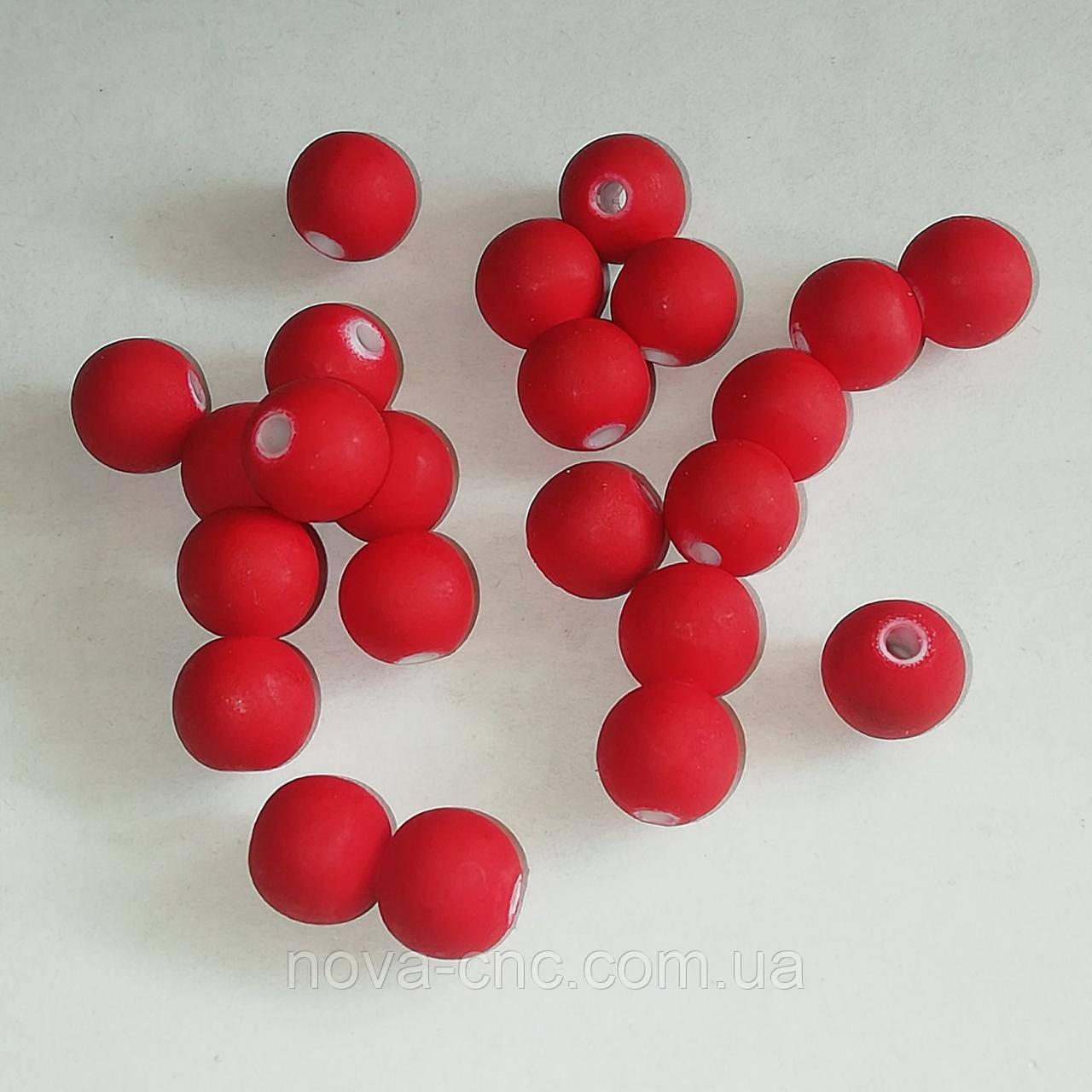 "Бусины ""Шар гладкий"" пластик красный 8 мм 500 грамм"