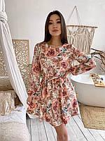 Летнее платье из софта - цветочные принты 42-46рр