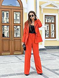Костюм женский брючный: пижак и брюки широкие (2 цвета)