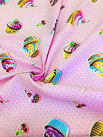 Вафельний полотно Кексики на рожевому 150 см