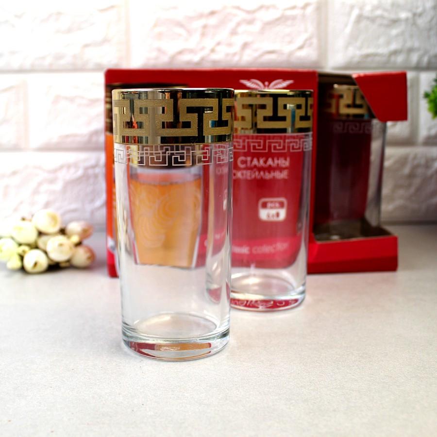 """Набір склянок для соку 290мл 6шт. """"Грецький візерунок"""" EAV03-402 (екстра золото)"""