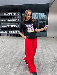 """Костюм женский брючный """"Микки"""": футболка и широкие брюки (в расцветках)"""